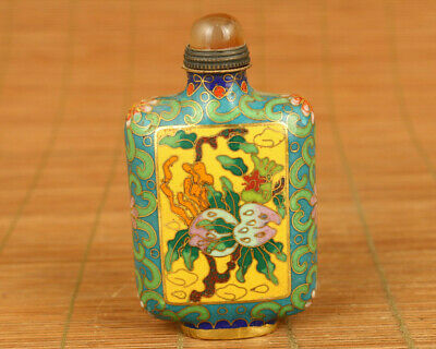 Rare old cloisonne hand painting flower statue snuff bottle hand piece