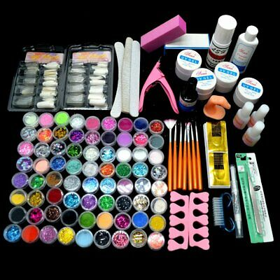 72 pcs Acrylic Powder Glitter UV Gel Liquid Nail Tips Glue Brush Polish Set Xmas