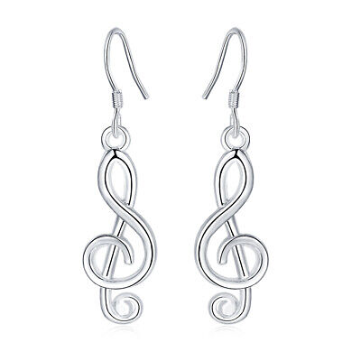 Fashion women elegant 925 Silver Musical notes Earring Jewelry wedding charms