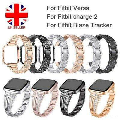 For Fitbit Charge 2 /Blaze/ Versa Crystal Stainless Steel Watch Band Wrist Strap