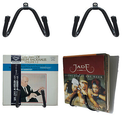 """Wall Mounted Vinyl Record Rack 7"""" ,10"""",12""""LP Singles Stand Holds Many Albums LPs"""
