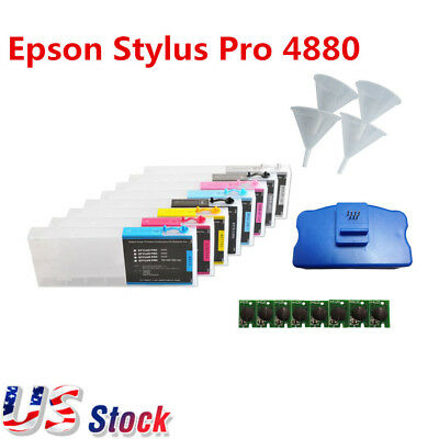 8pcs Epson Stylus Pro 4880 Refill Ink Cartridges with Funnels, Chips, Resetter