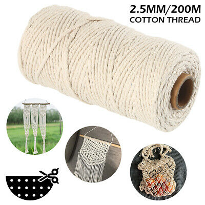200m 2.5mm Natural Cotton Rope Cord String Twisted Beige Craft Macrame Artisan