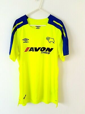 Derby County Away Shirt 2017. Medium. Umbro. Yellow Adults Top Only Football M.