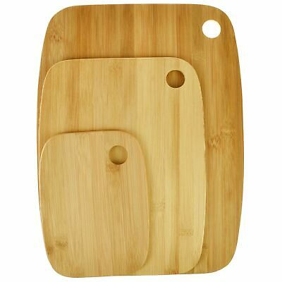 3pc Bamboo Wooden Chopping Board Set Serving Platter Cutting Cheese Food Kitchen