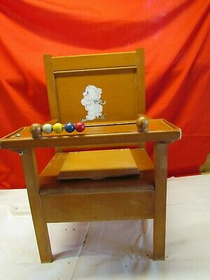 Vintage Hedstrom (?) 1950s Childs Wooden Potty Chair with Tray & Bowl Bear Decal