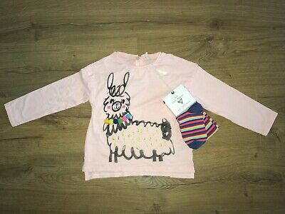 NEXT GIRLS LLAMA AUTUMN TOP and TIGHTS 2 PIECE SET - 3-4 YEARS - BNWT