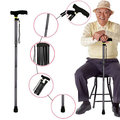 Walking Cane Aluminum Metal Stick Adjustable Folding Collapsible Travel Hiking