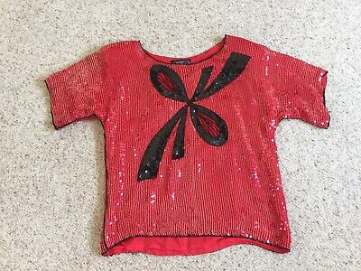 Vintage Jean for Joseph Le Bon 80s Sequin Top Beaded Red w/ Black Bow100% Silk M