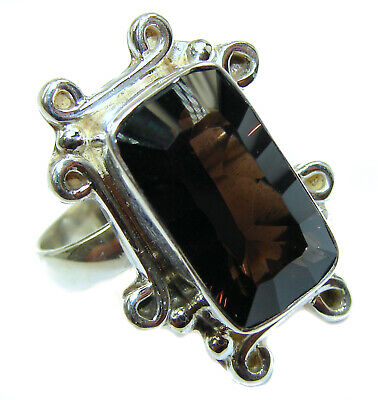 Smoky Topaz Ring  size 9 3/4 925 Sterling Solid Silver 12g Handmade Rings by SRS