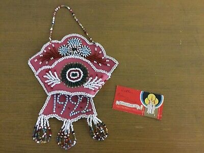 Fine Antique Native American Beaded Wall Pocket Sheath Pouch Towel Holder Great!