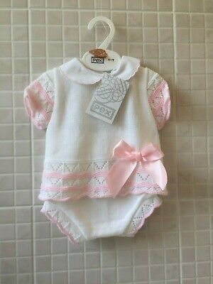 Baby Girls Knitted Spanish Romany Style 2 piece set Jam pants Pink Newborn-6-9m