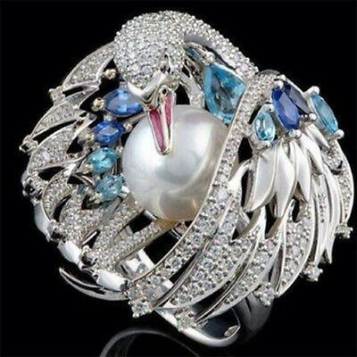 925 Silver Natural Blue Topaz Bird Animal Jewelry Pearl Women Party Ring Sz6-10