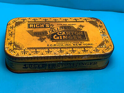 Vtg Rich's Crystallized Canton Ginger E.C.Rich,INC New York Digestion Aid Tin
