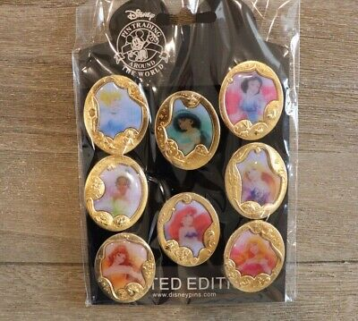 Disney Collectible Pin Pack PRINCESS Gold CAMEOS Mystery Box Complete Set of 8