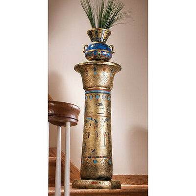 Classic Egyptian Gold Column Hieroglyphic Styling Column Pedestal Plant Stand