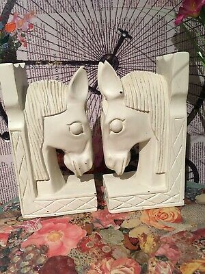 Rare White Large Wooden Hand Carved 1970s Horse Head Bookends Vintage Re Painted