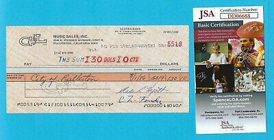 Leo Fender G&L 1986 Autographed Check JSA COA Made Out To City of Fullerton