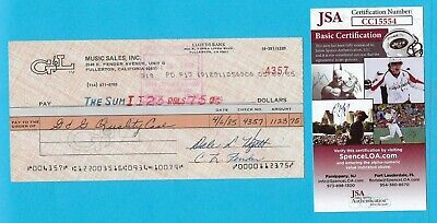 Leo Fender G&L 1985 Autographed Check JSA COA Made Out To G&G Quality Case