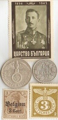 -*Colection of WW1 and *WW2 *german coins(.900% and .625%) and  stamps