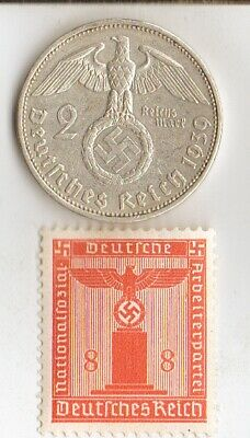 *antique *silver(.625%) - WW2 - 2 - marks  *german  SILVER EAGLE coin/stamp