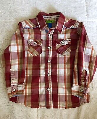 3T Autumn Red Orange Tan Plaid PEARL SNAP SHIRT Long Sleeve Western Ranch Rodeo