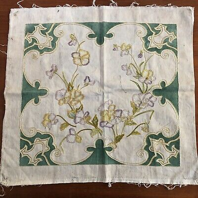 CLASSIC ANTIQUE ARTS CRAFTS MISSION STYLE STICKLEY EMBROIDERED Pansy Pillow Top