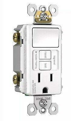 Legrand - Pass & Seymour 1595SWTTRWCC4 15A GFCI White Switch/Receptacle