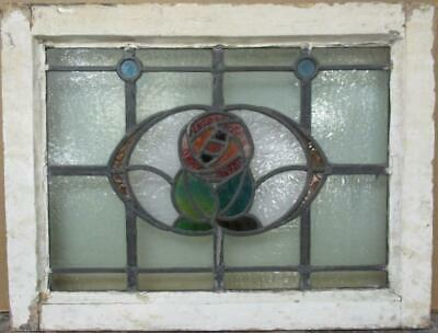 "OLD ENGLISH LEADED STAINED GLASS WINDOW Stunning Bordered Floral 21.5"" x 16.25"""