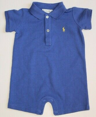 NEW NWT Ralph Lauren Sz 3M Boys Blue Romper Polo Yellow Pony One-Piece Outfit