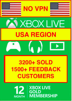 Xbox 12-Month Gold Membership(USA region ONLY) (Email delivery within 24hrs)