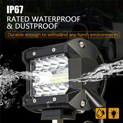 4inch 200W CREE LED Work Light Bar Pods Flush Mount Combo Driving Lamp 1/2/4Pcs