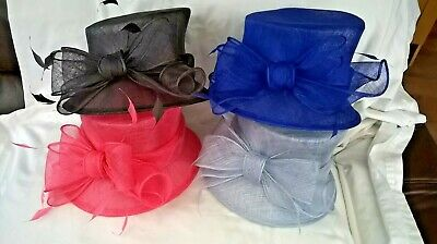 New Sinamay & feathers Hat for Wedding,races,occasion.pink,slate,cobalt,blue