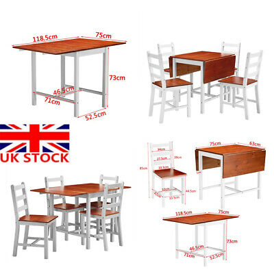 Wooden Folding Dining Wooden Table and 4 Chairs Set Extending Space Saving UK