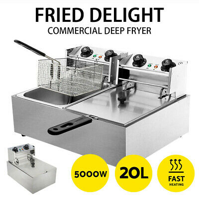 Electric Fryer Basket 20 L/10L Steel Deep Commercial 5000W/2500W Twin/single