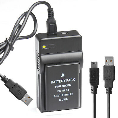 1200mAh Battery+USB Charger For Nikon EN-EL14 D3100 D3200 D5100 P7000 P7100 UK