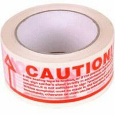 NEW 72 Rolls Of CAUTION Printed Sealing Packing Tape 48x66m STRONG/ HIGH QUALITY