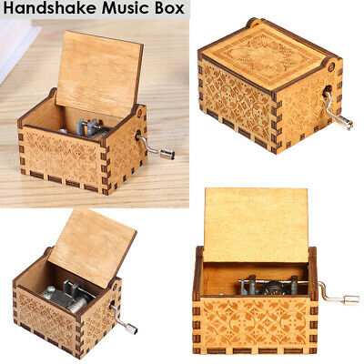 Retro Wooden Hand Cranked Music Box for Birthday Gift Case Household Party Decor