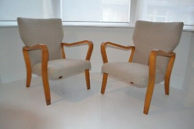 Stunning Pair Of Vintage Eric Lyons Tecta Bentwood Lounge Arm Chairs