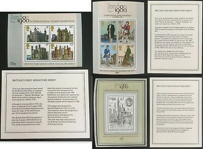 QEII First 3 Mini Sheets MS1058 1099 & 1119 MNH London 1980 GB