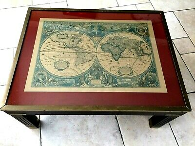 Stunning Solid Wood 'Campaign Map' Antique Style Coffee Table With Brass Edging