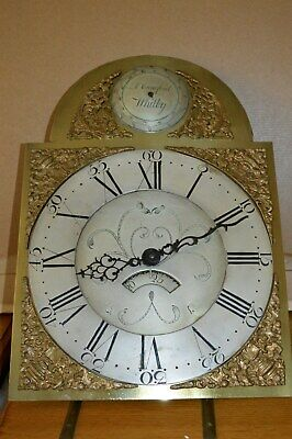 VICTORIAN BRASS ARCH DIAL30hr GRAND FATHER CLOCK DIAL/MOVEMENT A.CRAWFORD WHITBY
