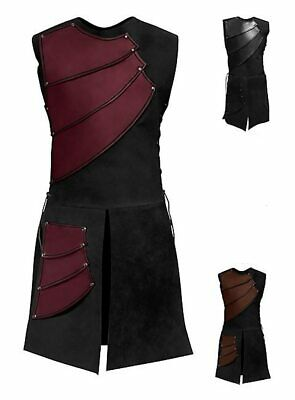 Men Leather in Medieval Style Vest Armor Knight Warrior Roman Archer Costume