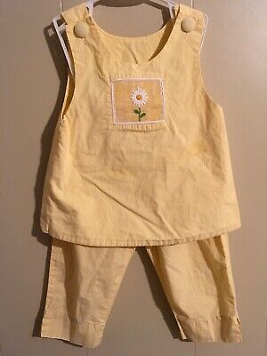 Girls Yellow Summer Outfit By Beaux & Belles Size 4