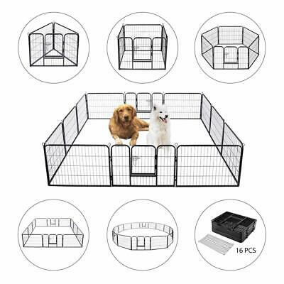 VIVOHOME Large Metal Cage Crate Pet Dog Cat Fence Exercise Playpen 16 Panels DIY