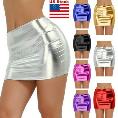 Womens Sexy Shiny Patent Leather Mini Skirt High Waist Bodycon Dress Party Club