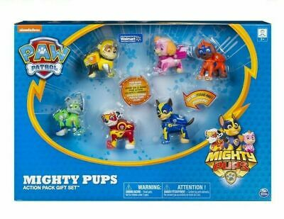 New Nickelodeon Paw Patrol Mighty Pups 6 Action Figure Pups Light Up Gift Set