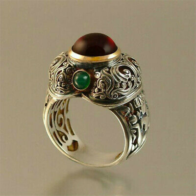 Natural 925 Silver Ruby Emerald Wedding Engagement Jewelry Party Ring Size 6-10