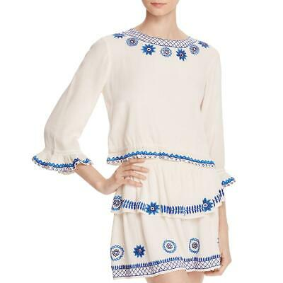 Rahi Cali Womens Bliss White Embroidered One Shoulder Crop Top Shirt L BHFO 4664