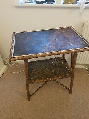Victorian Bamboo Chinoiserie Table, Antique Lacquered Oriental Painted Table